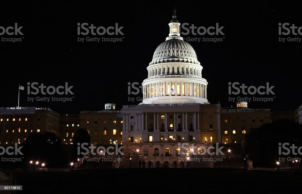 Night view of Capitol Building stock photo