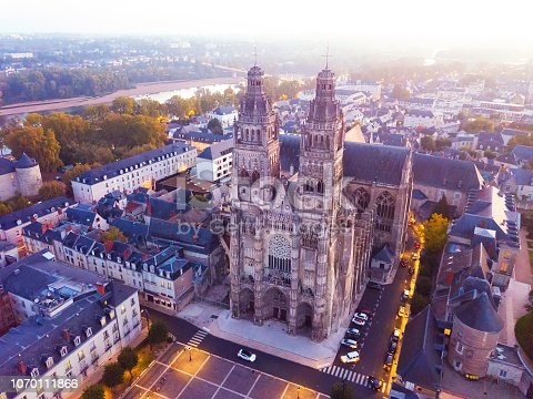 Aerial night view of magnificent medieval Cathedral Saint-Gatien in Tours, France