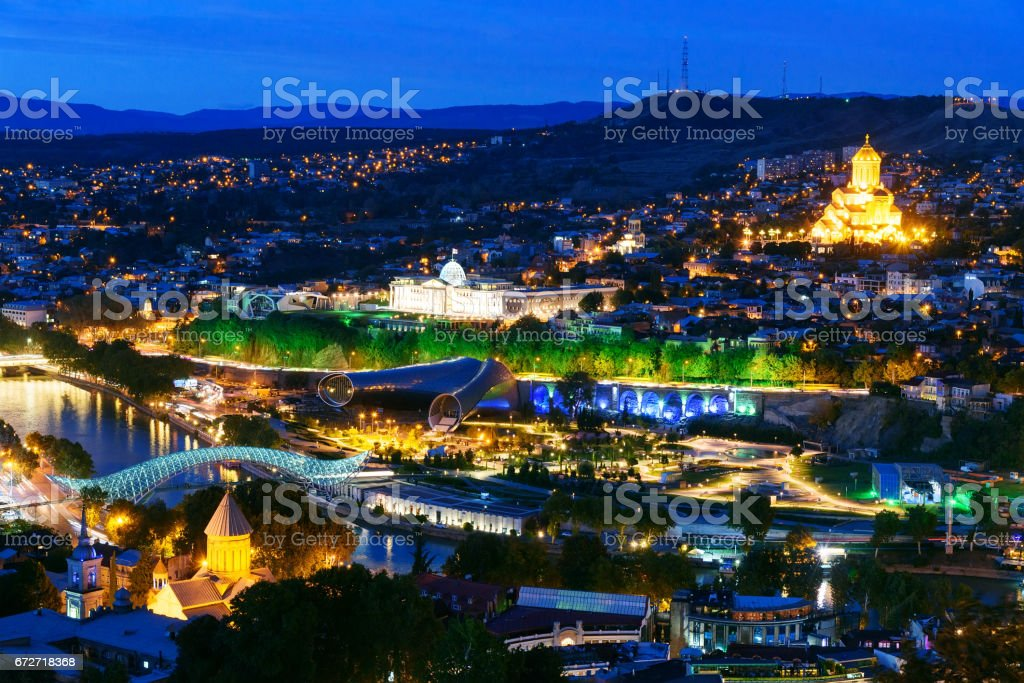 Night view of center Tbilisi city. Georgia stock photo