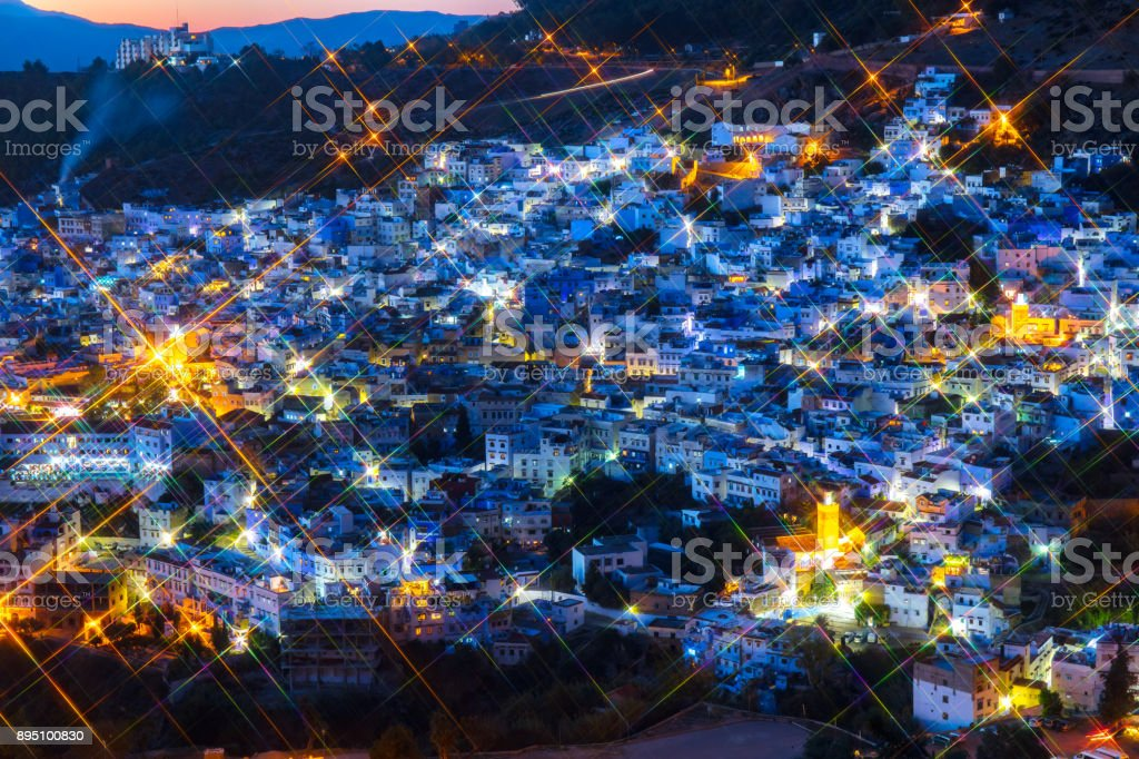 Night view of Chefchaouen stock photo