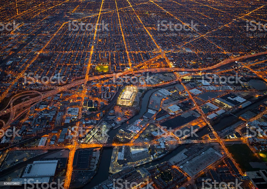 Night view of Chicago stock photo