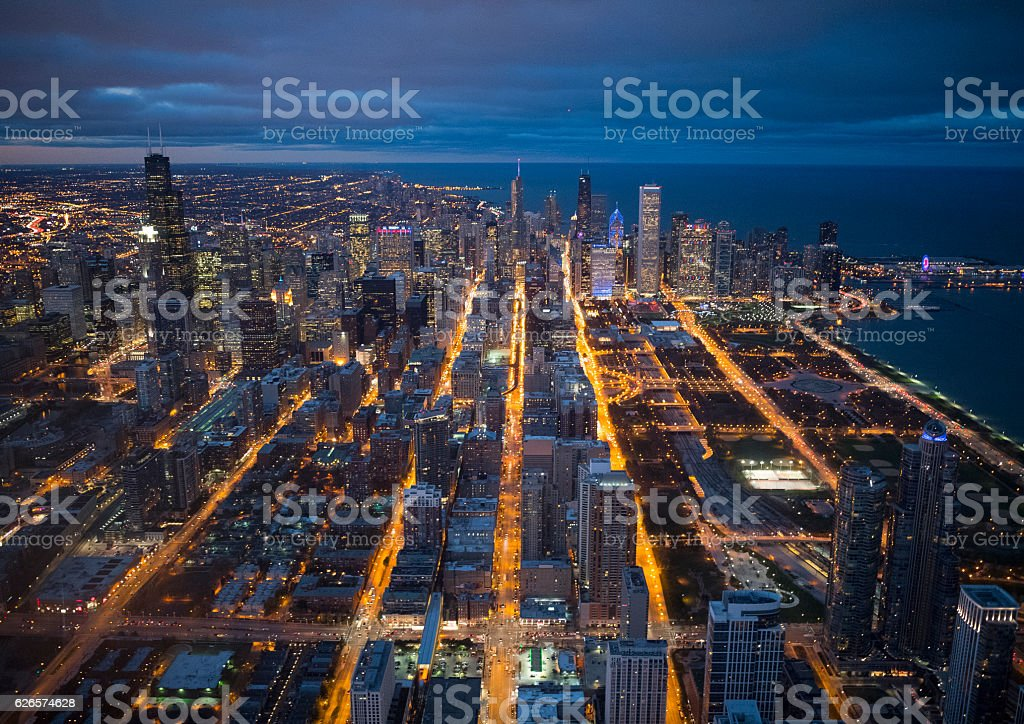 Night view of Chicago seen from above stock photo