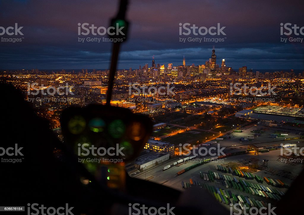 Night view of Chicago seen from the cockpit stock photo