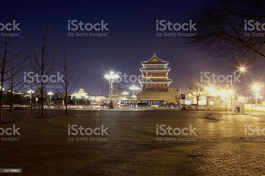 night view of Chinese tower building stock photo