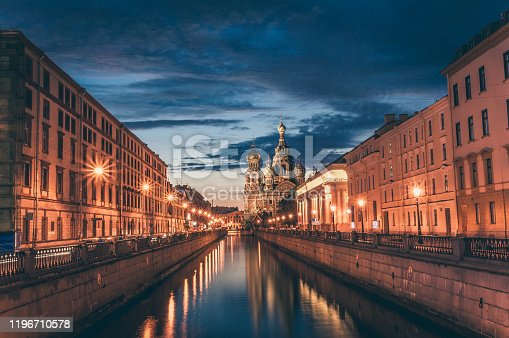 Night View Of Church Of Savior On Spilled Blood In St. Petersburg, Russia