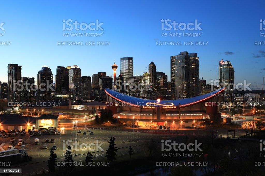 Night view of city center of Calgary, Canada stock photo