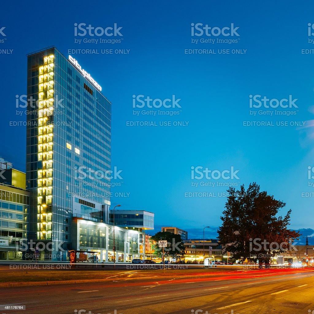 Nacht Blick Auf Die City Plaza Gutes Beispiel Fur Moderne
