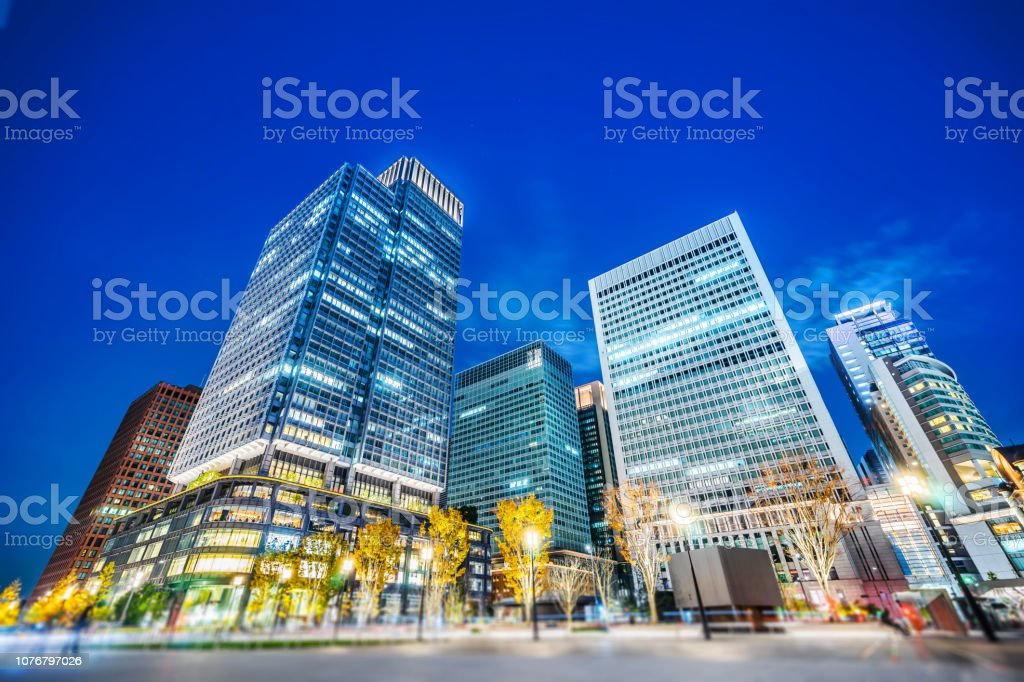 night view of city skyline, tilt shift effect stock photo