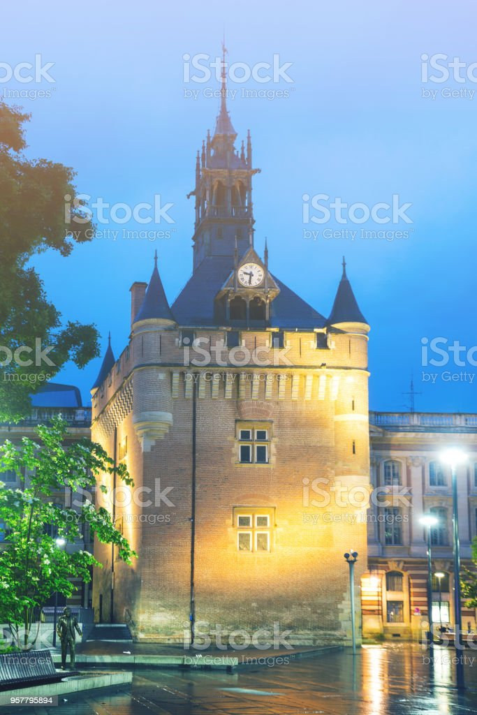 Night view of Donjon du Capitole, Toulouse stock photo