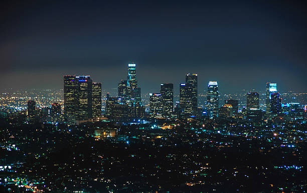 Night view of downtown Los Angeles, California United States – Foto