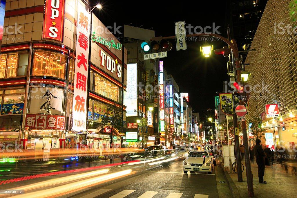 Night View of Downtown, Shinbashi 3-chome stock photo