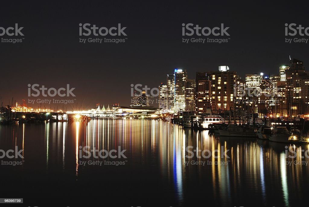 Night view of downtown Vancouver royalty-free stock photo