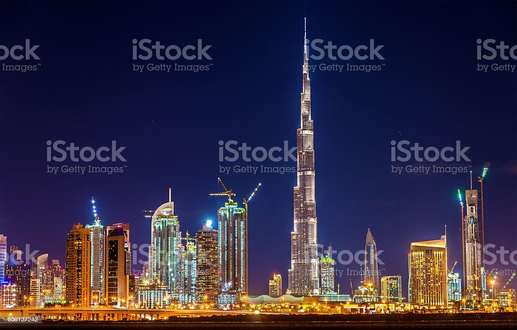 Night view of Dubai Downtown with Burj Khalifa stock photo