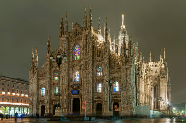 Night view of Duomo cathedral, Milan, Lombardy, Italy stock photo