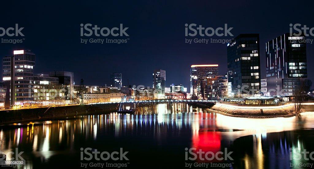 Night view of Dusseldorf Media Harbor in Rheinland Westphalia, Germany stock photo