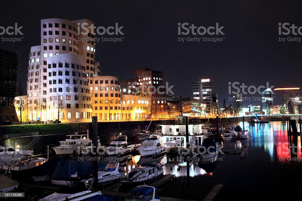 Night view of Dusseldorf Media Harbor in Rheinland-Westphalia, Germany stock photo