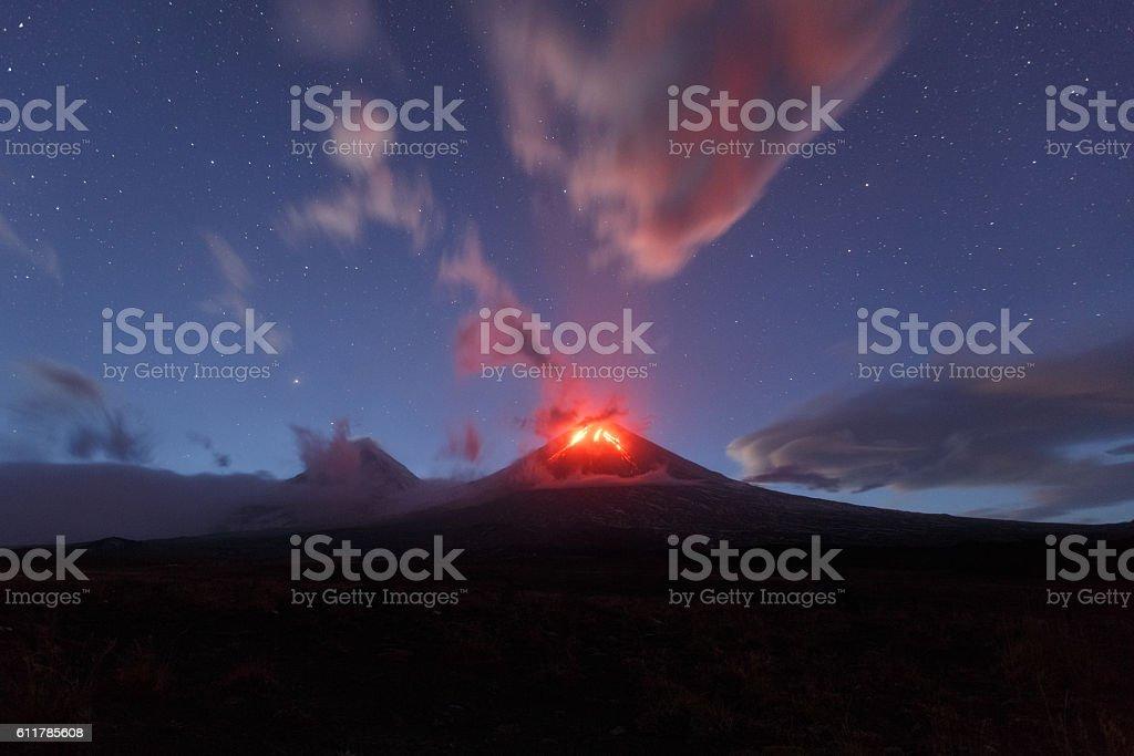 Night view of eruption Klyuchevskaya Sopka. Kamchatka Peninsula stock photo
