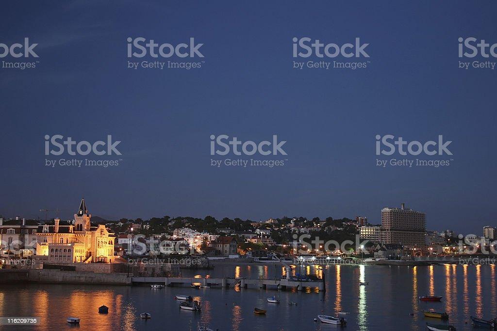 night view of estoril stock photo