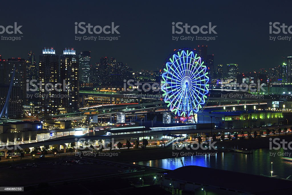 Night View of Ferris wheel and Pallet Town stock photo
