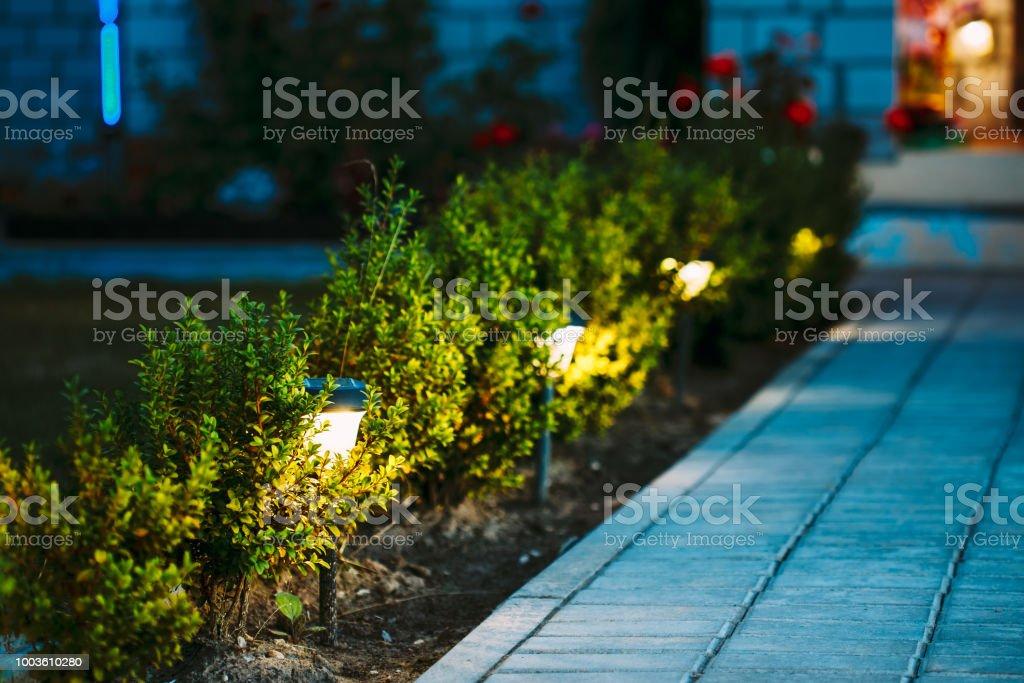 경로 코즈웨이 집으로가 마당에 따라 에너지 절약 태양 열 전원된 등불으로 조명 꽃 꽃밭의 야경 - 로열티 프리 0명 스톡 사진