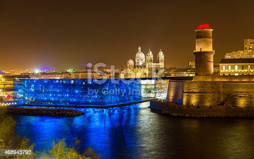 istock Night view of Fort Saint-Jean and Cathedral in Marseille, France 468943792