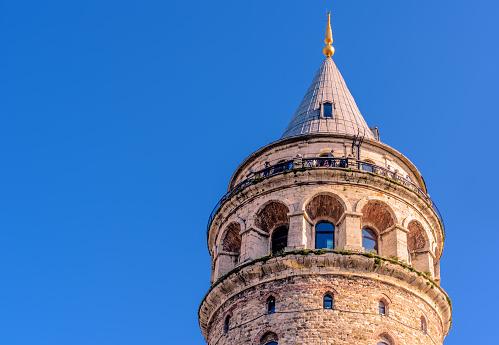 Nacht Uitzicht Op De Galata Toren Een Middeleeuwse Beroemde Bezienswaardigheid Stockfoto en meer beelden van Antiek - Toestand
