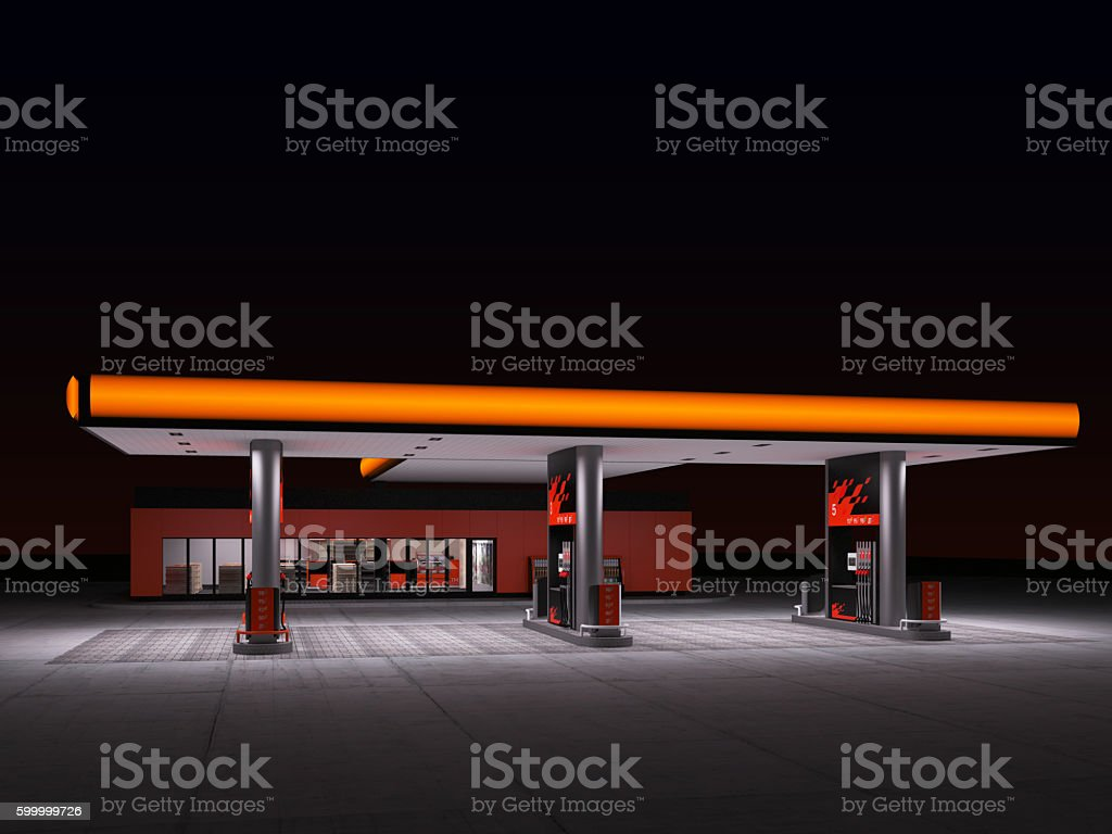 night view of gas refuel station stock photo