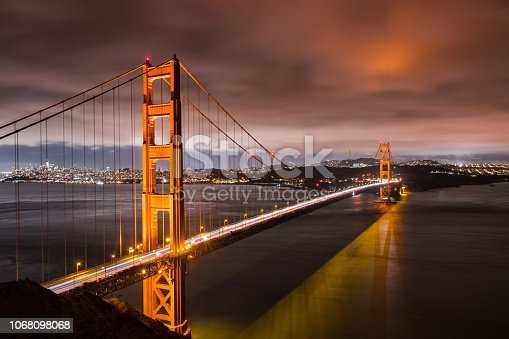 Night view of Golden Gate Bridge connecting San Francisco and the Marin Headlands, California; long exposure