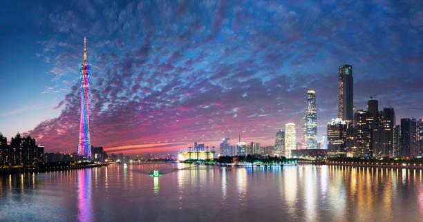 night view of guangzhou city - guangdong i̇li stok fotoğraflar ve resimler