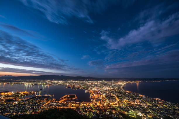 Night view of Hakodate during summer stock photo