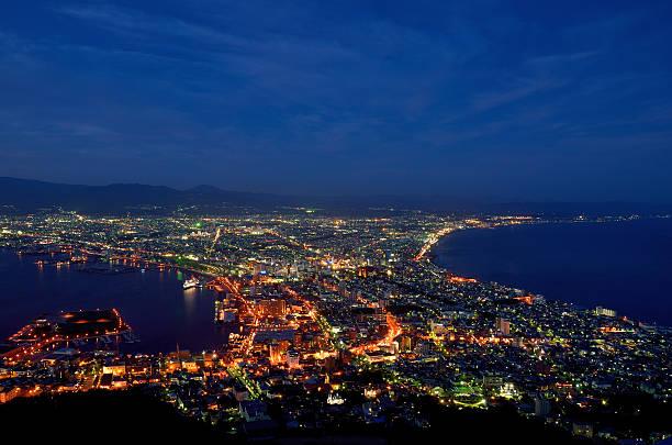 Night view of Hakodate, Hokkaido, Japan. stock photo
