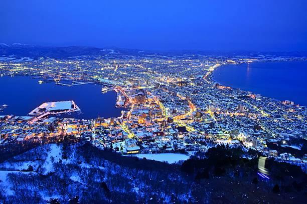 Night view of Hakodate in winter stock photo