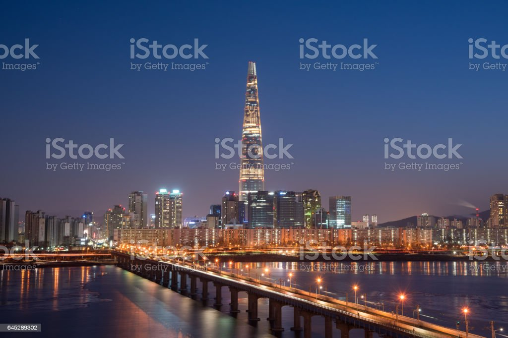 Night view of Han river and Lotte tower. stock photo