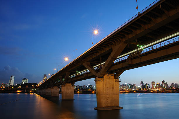 Night view of Han River in Seoul stock photo