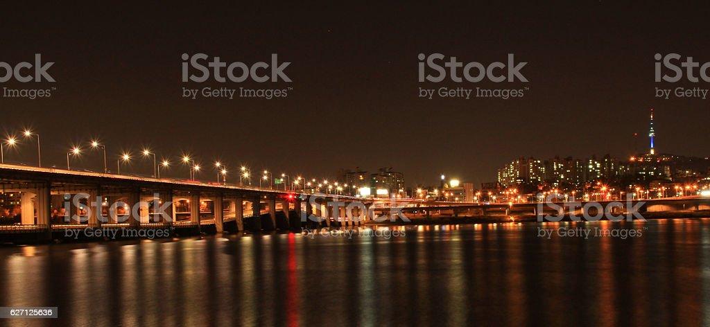night view of Han River, Seoul, Korea stock photo