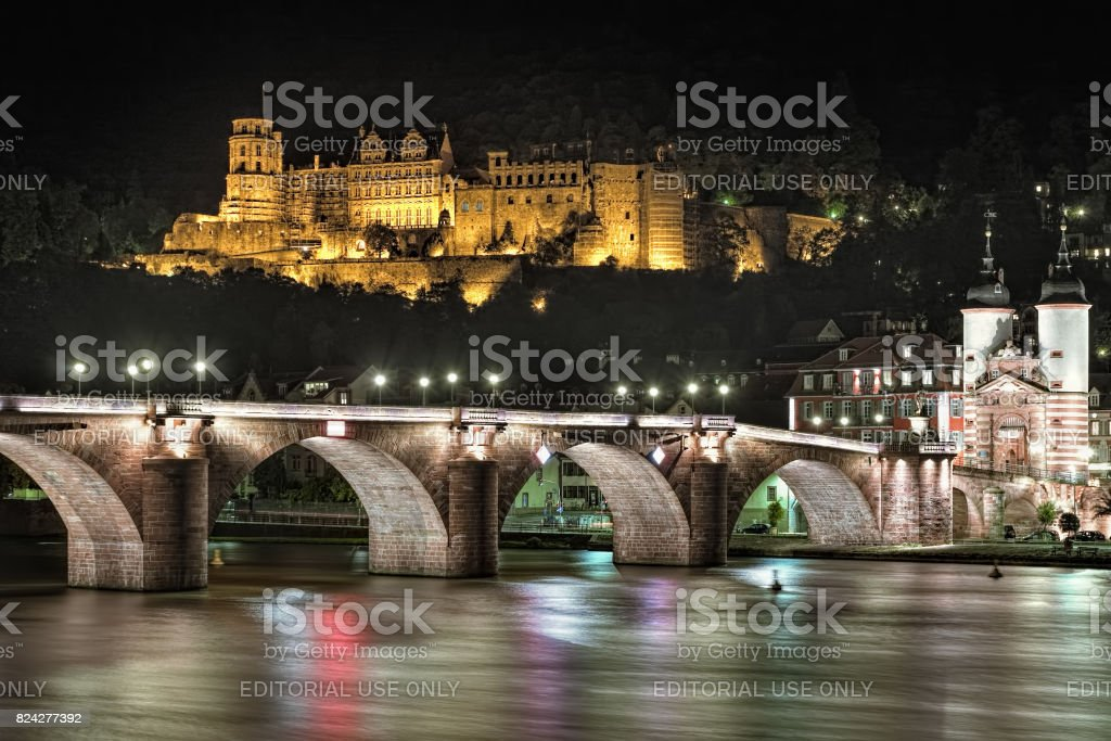 Night view of Heidelberg Castle and Old Bridge in Heidelberg, Germany stock photo