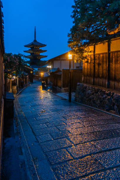 Night view of Higashiyama historic district in Kyoto stock photo
