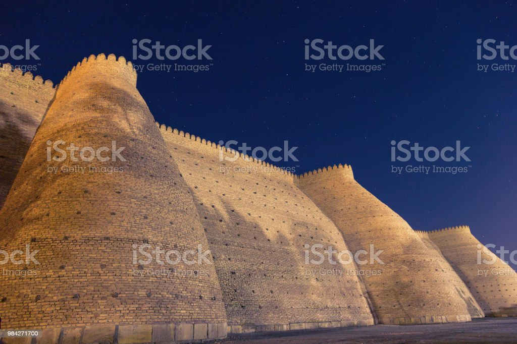 Night View Of Historical Ark Fortess In Bukhara City Uzbekistan Wall Of The  Bukhara Fortress The Ark Stock Photo & More Pictures of Ancient