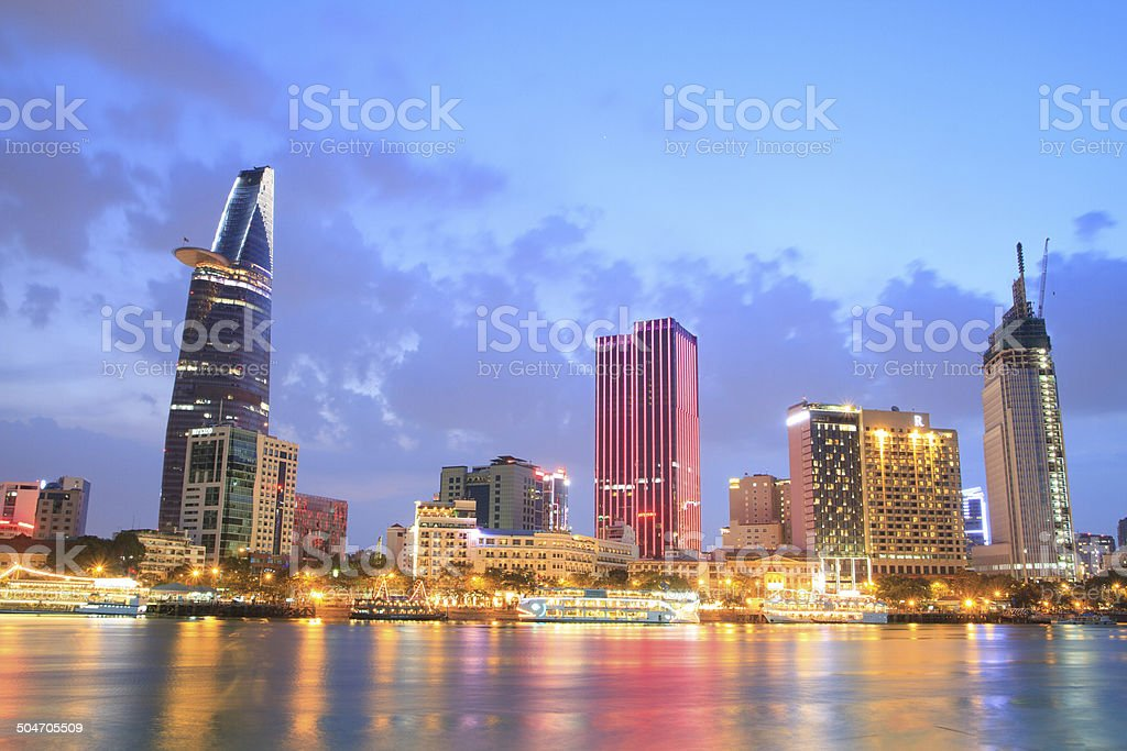 Night view of Ho Chi Minh City royalty free stockfoto