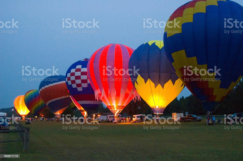 Night view of hot air balloons. royalty-free stock photo
