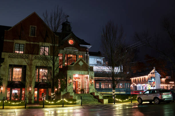 Night view of Hotel Fiesole in the historic section of Skippack township
