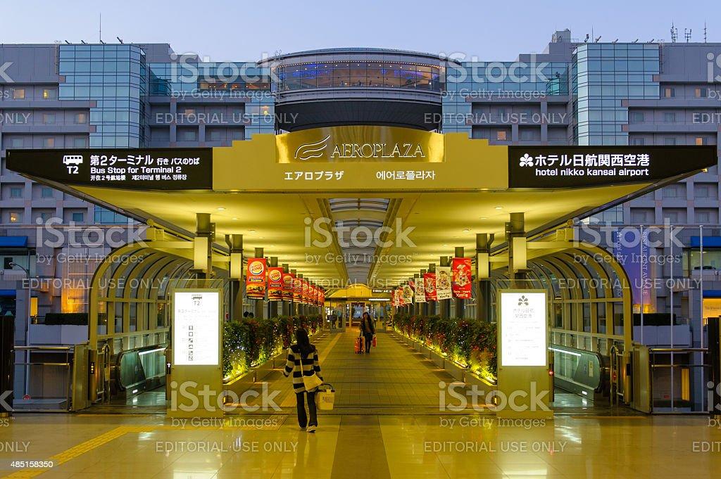 Night view of Hotel Nikko Kansai Airport in Osaka stock photo