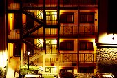 Night view of hotel resort stairs and balcony