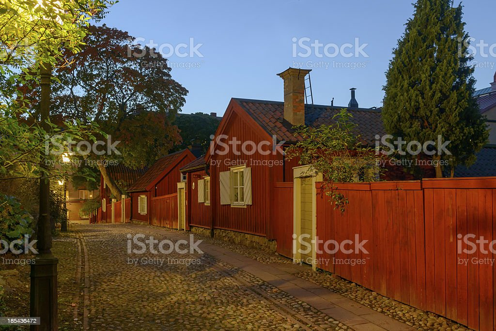 Night  view of idyllic part in Sodermalm, Stockholm stock photo