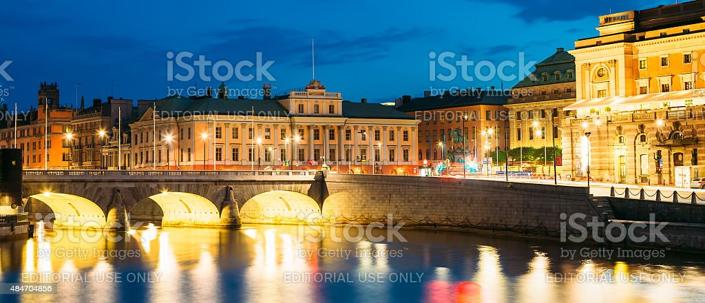 Night View Of Illuminated Old Norrbro Bridge in Stockholm, Swede stock photo
