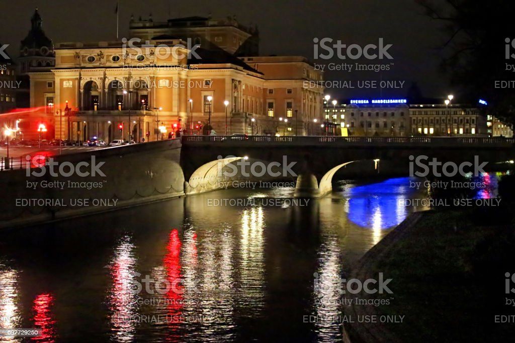Night View Of Illuminated Stockholm Royal Opera stock photo