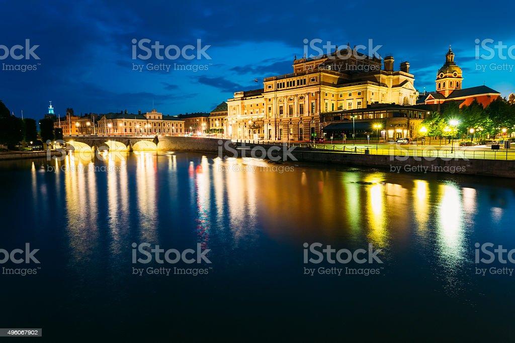 Night View Of Illuminated Stockholm Royal Opera, Sweden stock photo