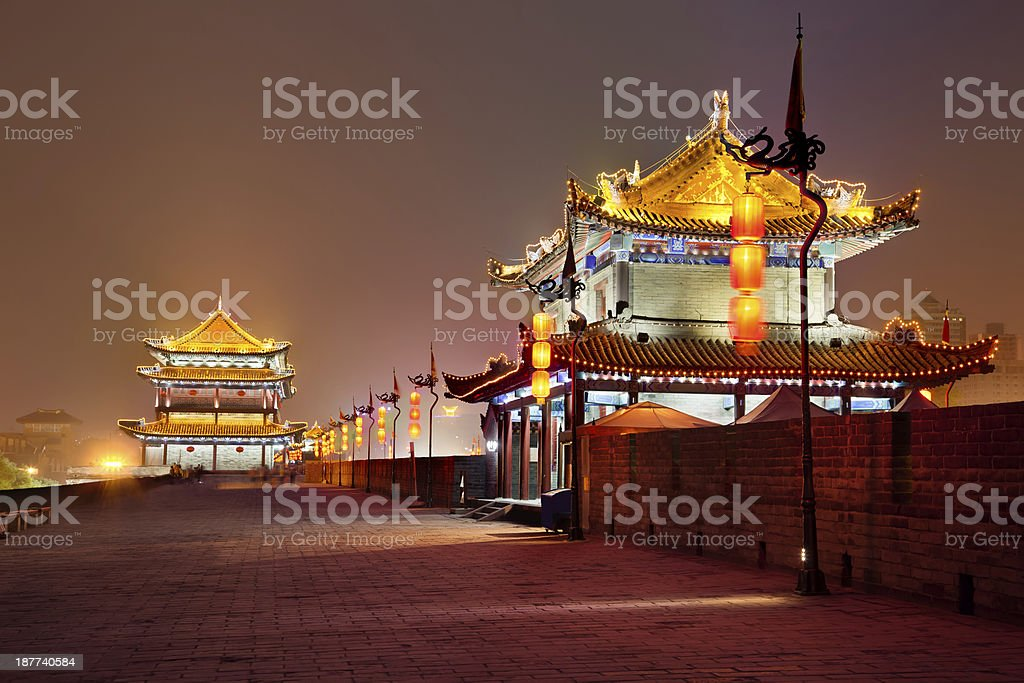 Night view of illuminated Xian City wall South gate in China royalty-free stock photo