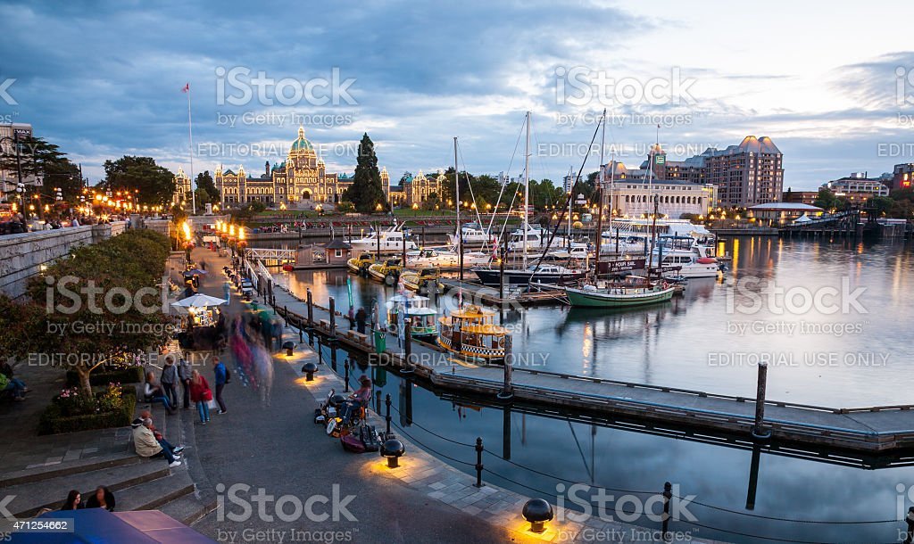 Night view of Inner Harbour in Victoria stock photo