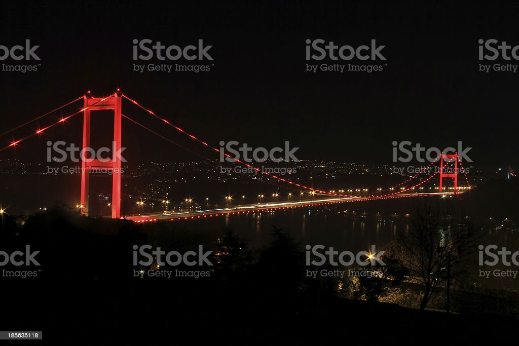 Night view of Istanbul and Bosphorus stock photo